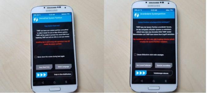 05_Samsung_Galaxy_S4_GT_I9505_jfltexx TWRP Deutsch_System_Modifikation_zulassen (image: ZDNet.de)