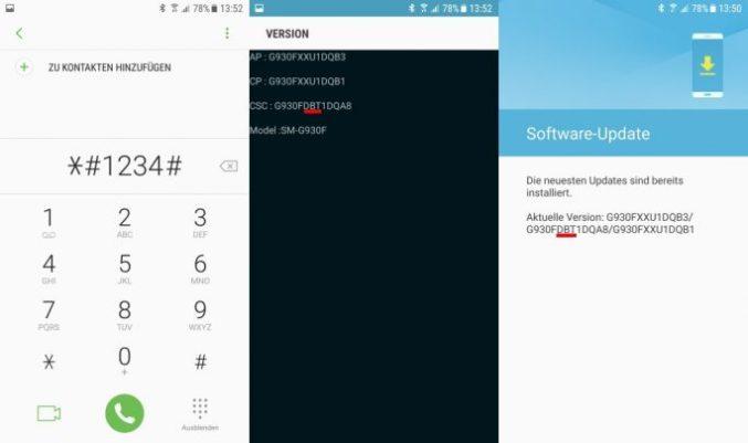Galaxy S7/S7 edge: provider code in CSC (image: ZDNet.de)