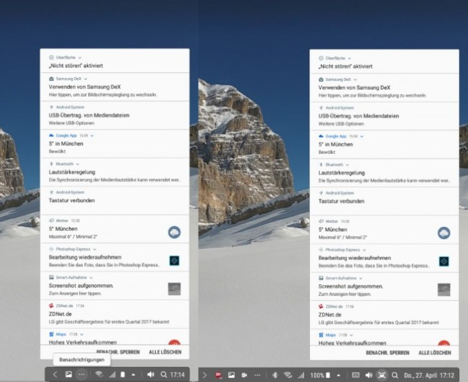 Samsung DeX: System tray and notification Centre (screenshot: ZDNet.de)