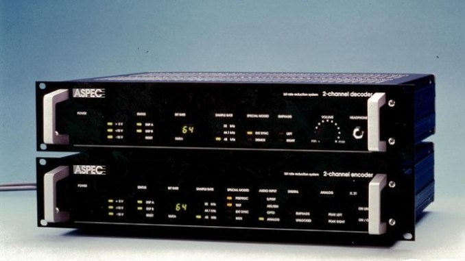 the audio coding algorithms ASPEC (Adaptive spectral perceptual entropy coding) was introduced in 1991. It forms the basis of MP3 and was initially offered broadcasters as part of these devices (picture: Fraunhofer IIS)