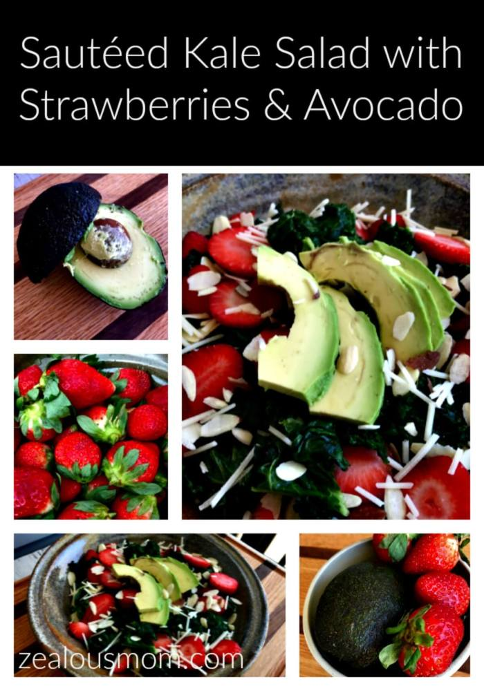 Sautéed kale salad with strawberries and avocado. This is one of my favorite go-to salads to make for lunch or dinner. It's very filling, healthy and quick to make. Enjoy! @zealousmom.com