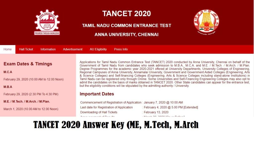 AU TANCET Answer Key 2020