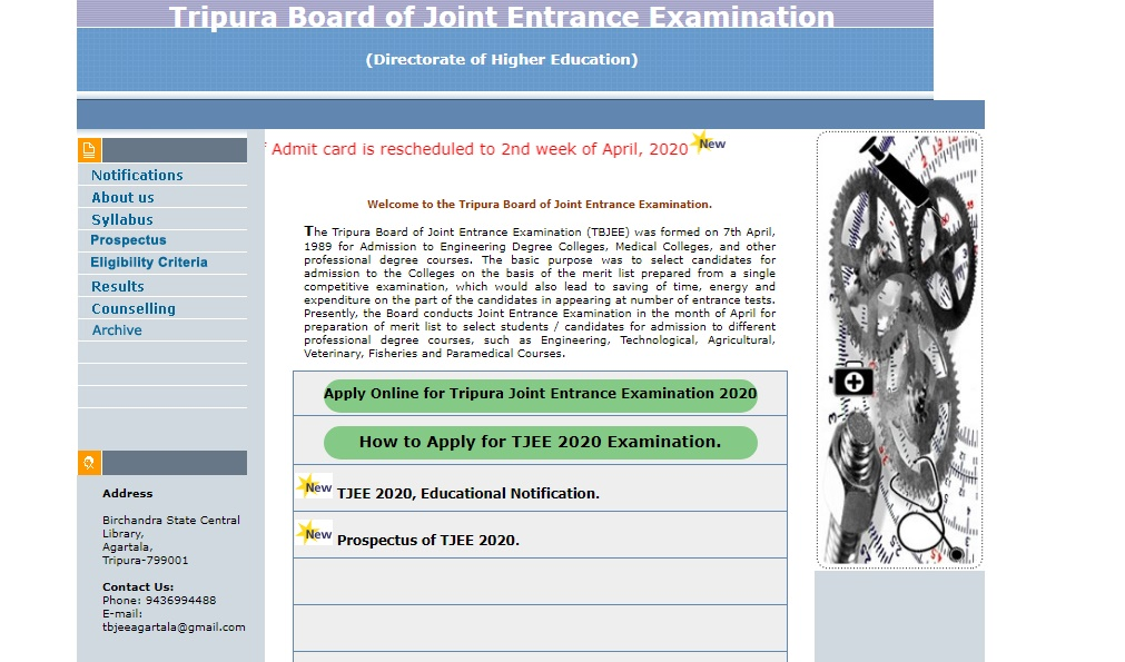 TBJEE Admit Card 2020