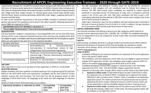 APCPL Engineering Executive Trainee Recruitment 2020