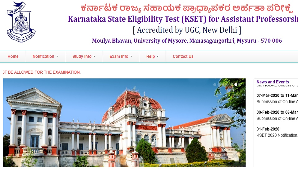 Karnataka SET Admit Card