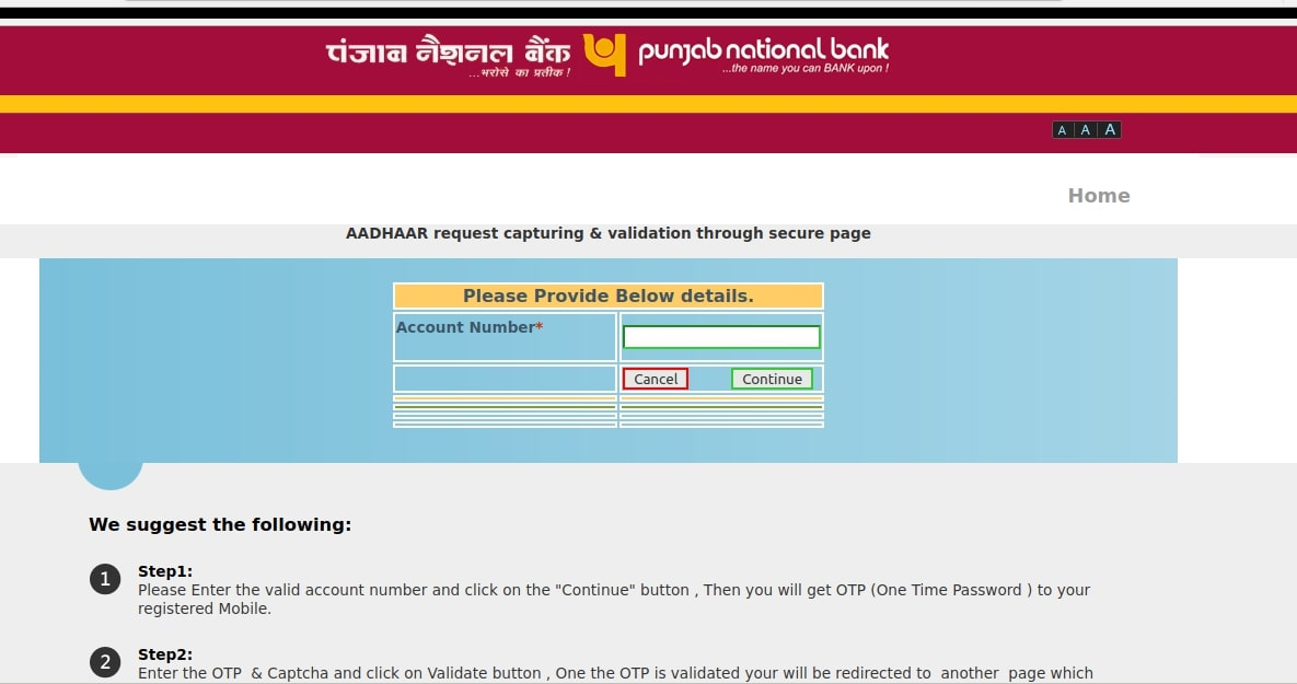 PNB Bank Account OTP Based Aadhaar Seeding