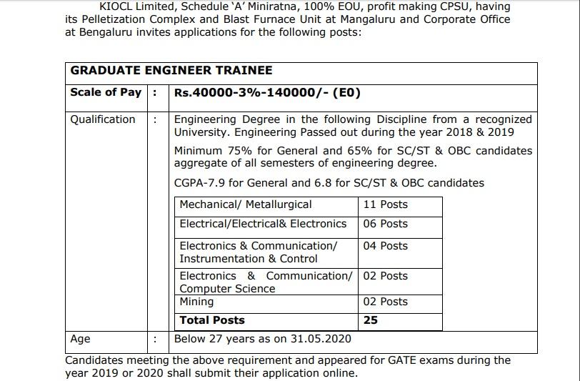 KOICL Graduate Engineer Trainee Recruitment 2020
