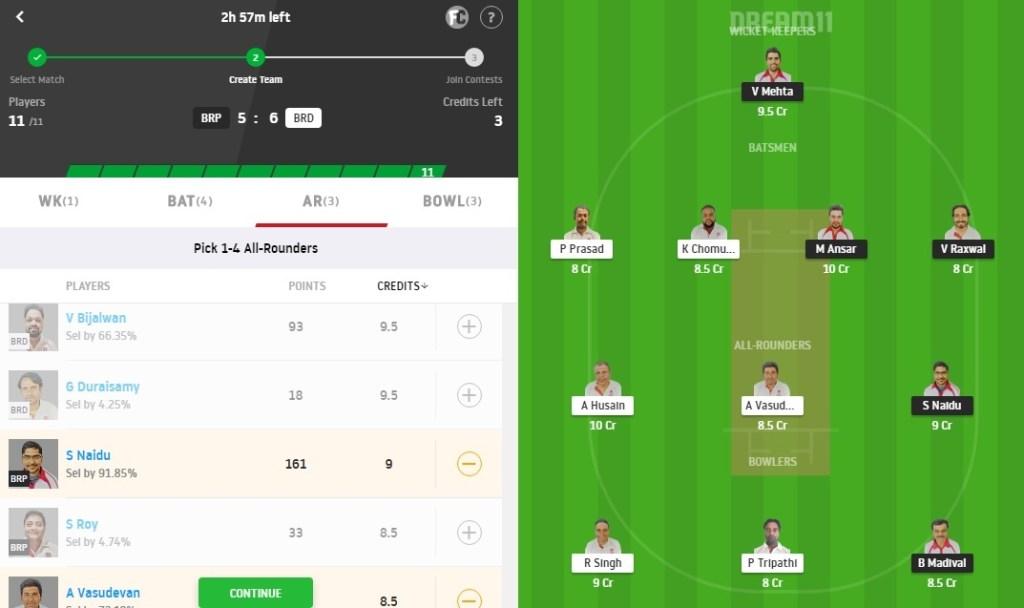 BRP vs BRD Dream11 Prediction