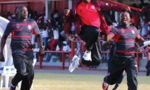 Coaches aggrey chiyangi celebrates first goal at Nkana