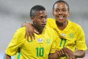 Luther Singh celebrates his goal with Nkosingiphile Ngcobo of
