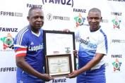 Football icon Kalu and Linos Chalwe at part of Luapula Summerfest in Kitwe Arthur Davies Stadium