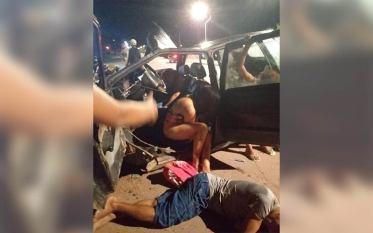 Paragominas: Carro de passeio superlotado bate em mureta e deixa várias pessoas feridas