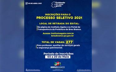 Prefeitura de Breu Branco abre 277 vagas em PSS para três áreas