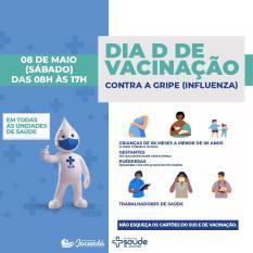 """Amanhã (8) é """"Dia D de Vacina contra Gripe"""" em Jacundá"""