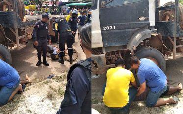 Tucuruí: Acidente envolvendo moto e caminhão deixa motociclista com braço esmagado
