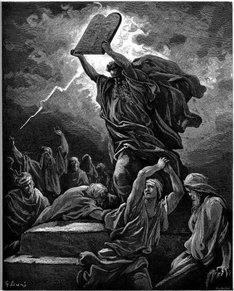 משה משבר את לוחות הברית, באיורו של גוסטב דורה.