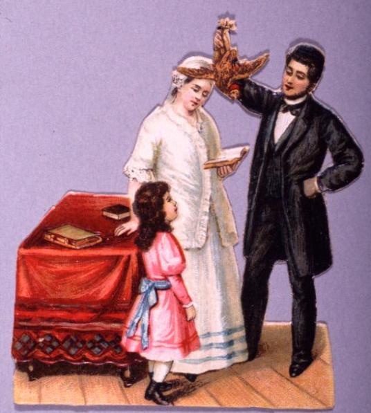 משפחה יהודית באירופה מבצעת את מנהג הכפרות. ליתוגרפיה, סוף המאה בתשע עשרה