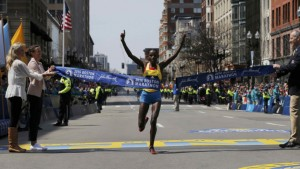 Atsede Baysa of Ethiopia crosses the finish line to win the women?s division of the 120th running of the Boston Marathon in Boston, Massachusetts