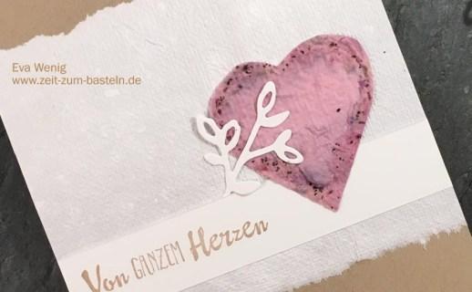 Karte zum Valentinstag oder Muttertag mit handgeschöpften Papier und Blütentraum von Stampin Up - www.zeit-zum-basteln.de