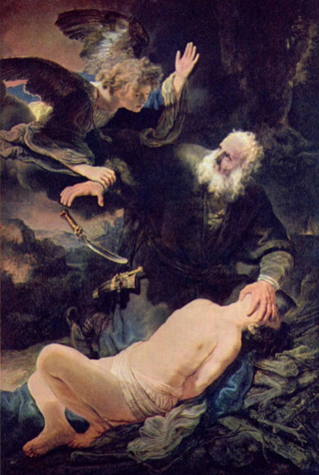 Rembrandt (1606 - 1669): Der Engel verhindert Opferung Isaaks 1636