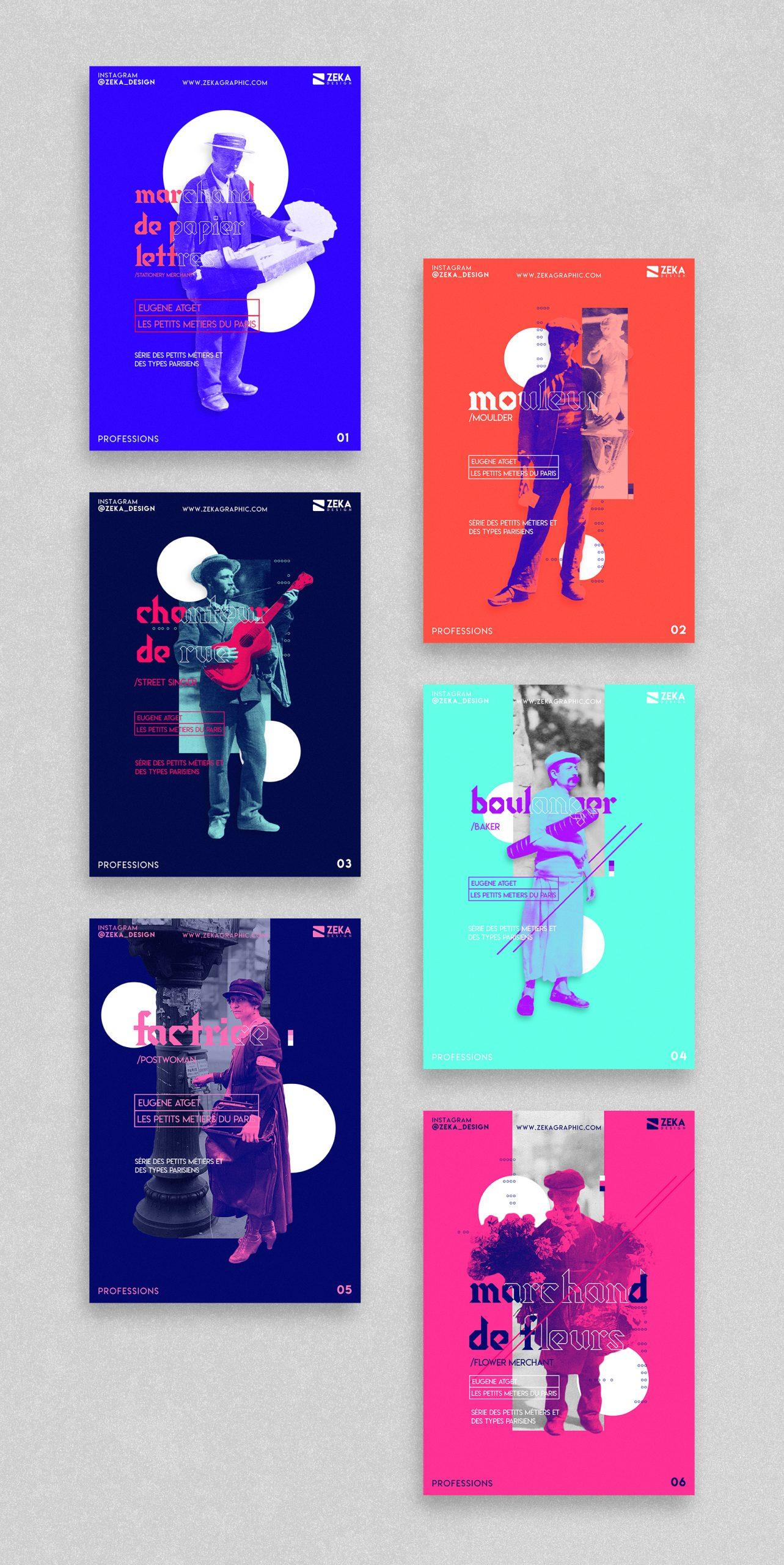 2020 Professions Color Poster Design Collection Zeka Design