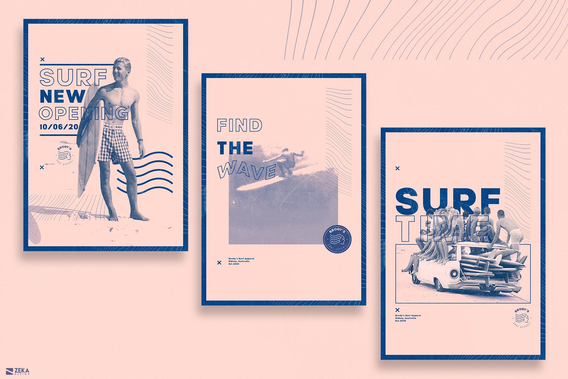 Brodys Surf Logo Design Brand Identity Design Concept by Zeka Design