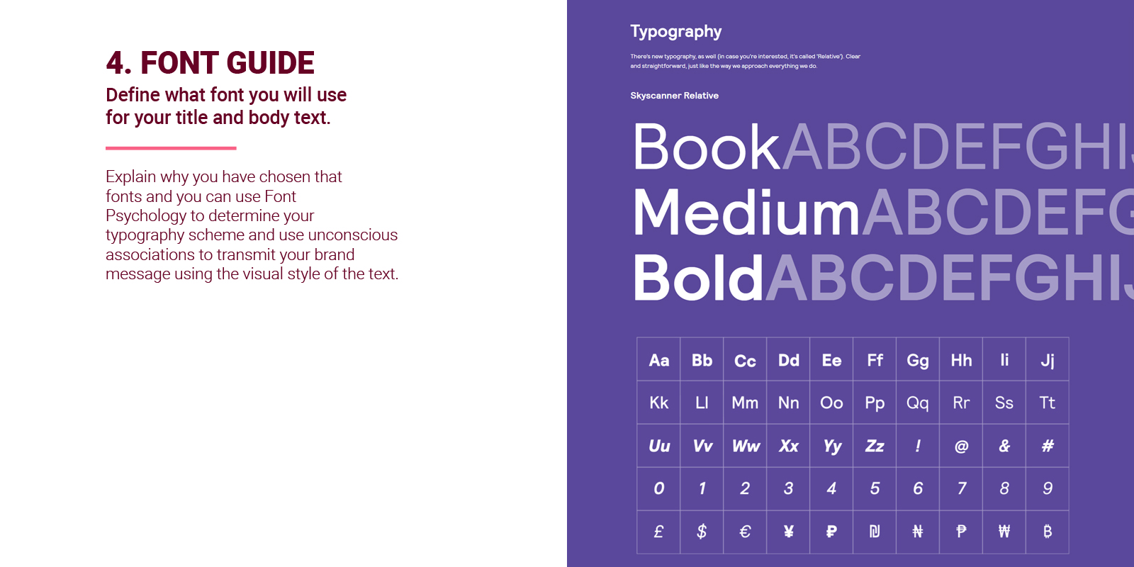 Font Guidelines in brand style guide
