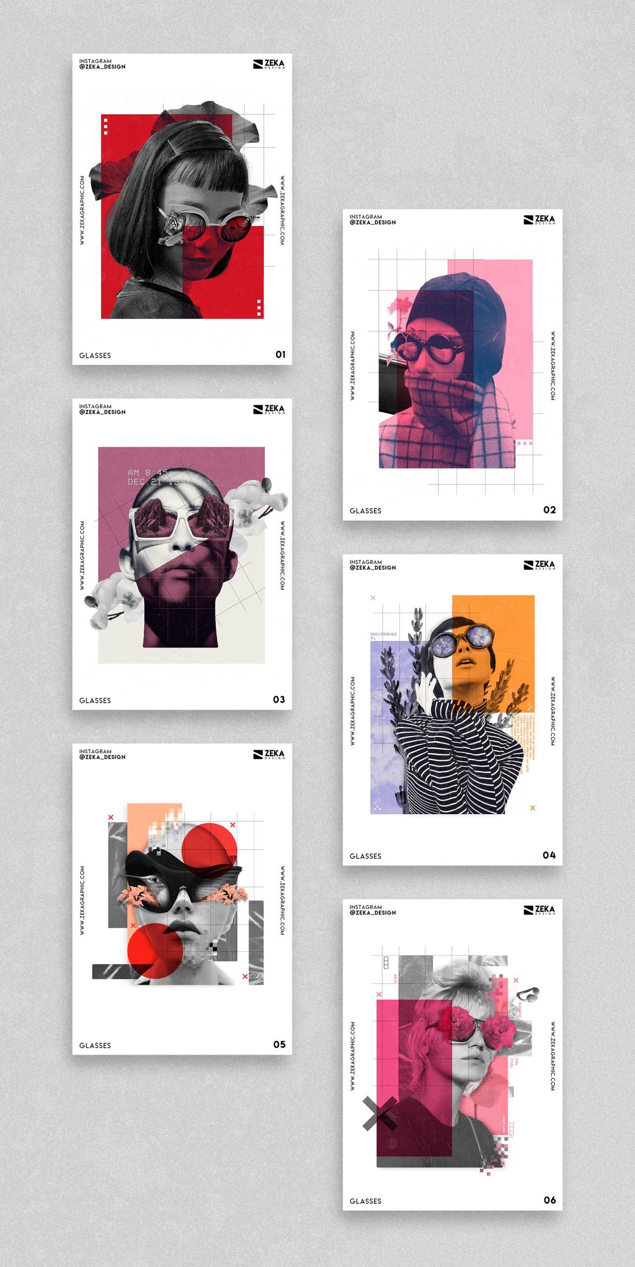 Glasses Poster Design Collection Zeka Design