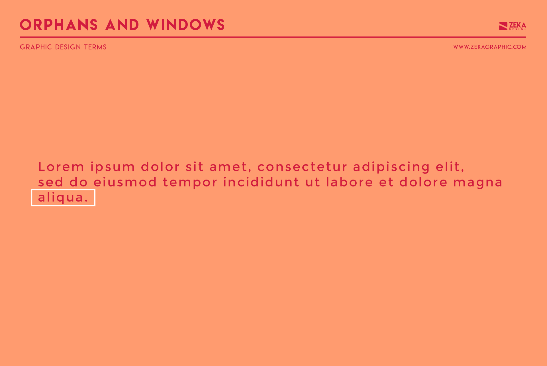 Orphans and Windows Graphic Design Terms