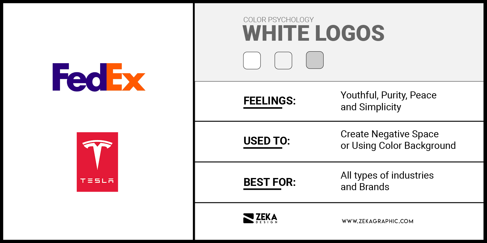 White Logos Meaning in Graphic Design Color Psychology