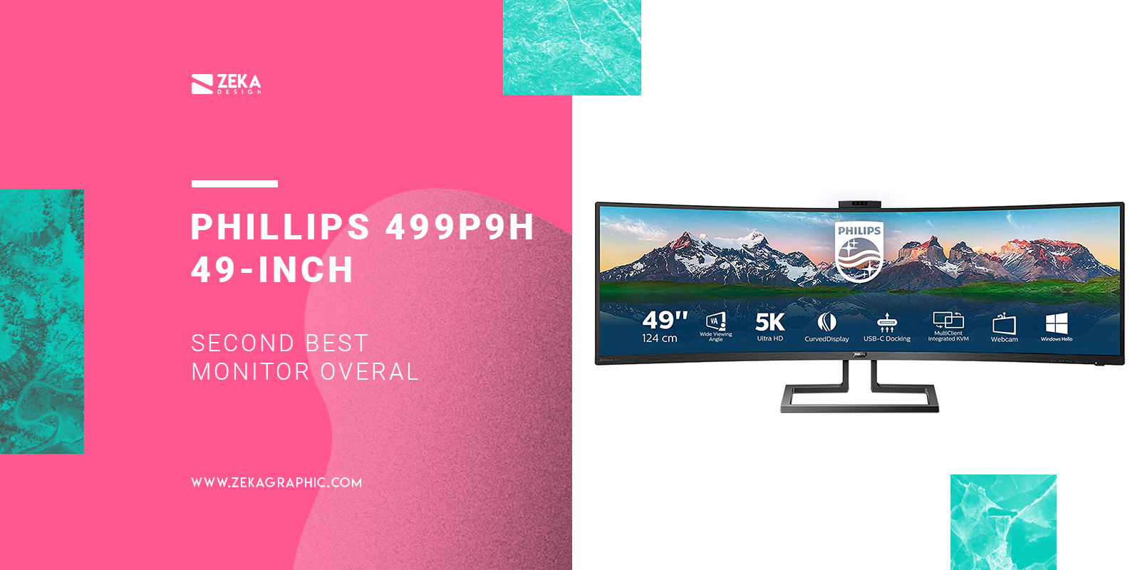 Phillips 499P9H 49-inch SuperWide Curved 5k Monitor for graphic design