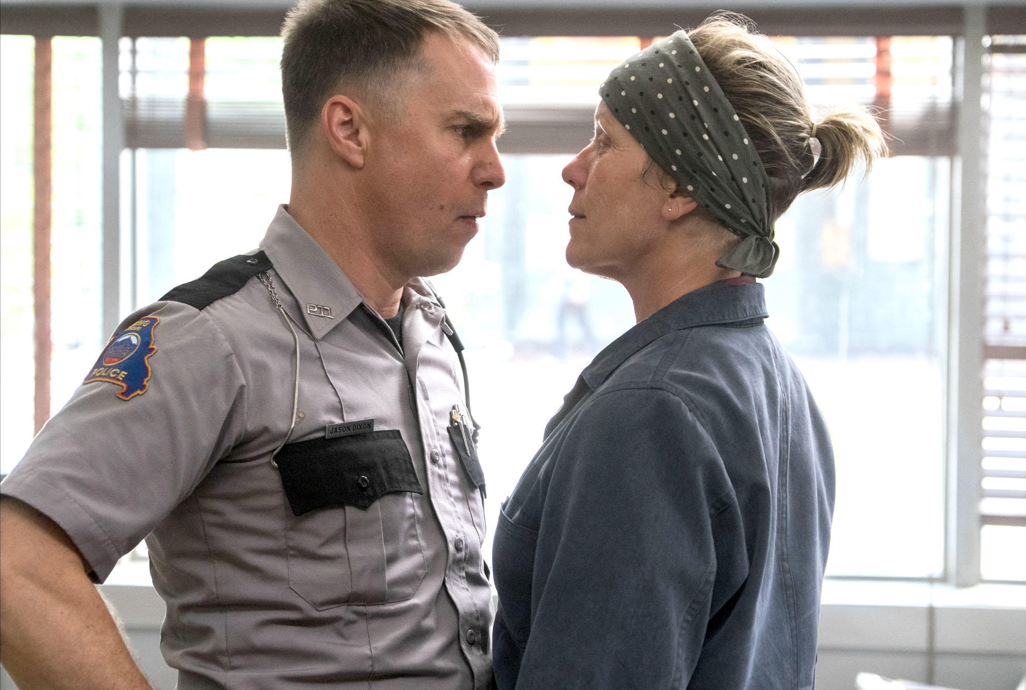 Sam Rockwell and Frances McDormand in THREE BILLBOARDS OUTSIDE EBBING, MISSOURI (2017)