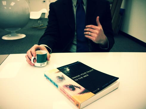 Taking Your Talent To The Web, a guide for the transitioning designer, by L. Jeffrey Zeldman. Hand model: Tim Brown.