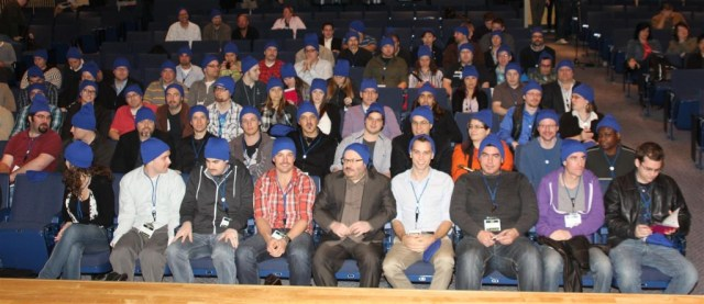 A sea of blue hats