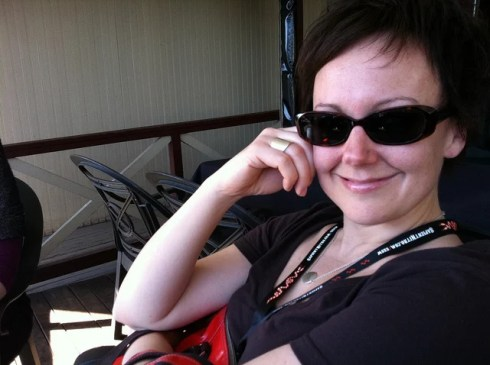 Kristina Halvorson on the porch at Moonshine on the afternoon before SXSW Interactive begins.
