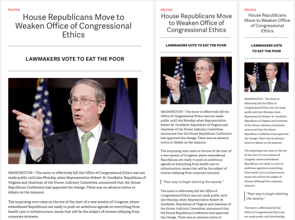 Sample reader layout from the Poynter challenge