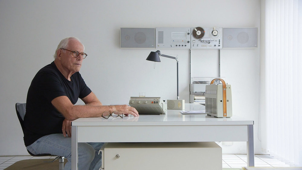 Dieter Rams at his desk. Still from the film by Gary Hustwit.