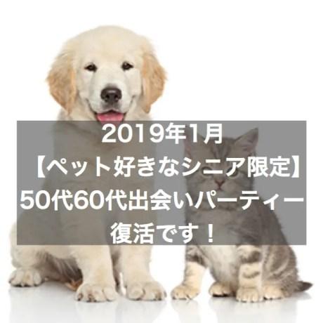 2020年1月は【ペット好きなシニア限定】50代60代出会いパーティー復活です!