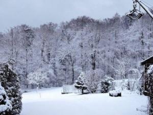 Schnee auf dem Bauernhof, Wiese unterhalb Ferienwohnung