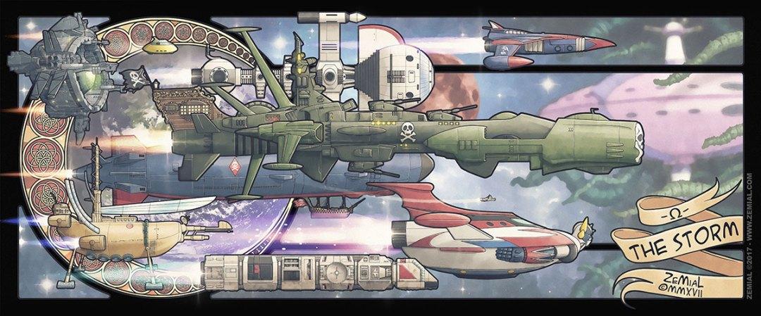 Illustration THE STORM représentant une armada de vaisseaux célèbres (Goldorak, Albator, Flam, Ulysse, Cobra, ... )