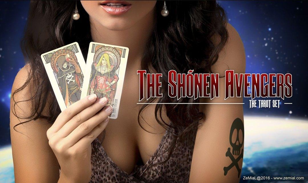 Femme tenant dans ses mains deux exemples de cartes THE SHONEN AVENGERS