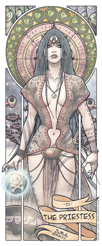Illustration THE PRIESTESS représentant Sylvidra (Albator)