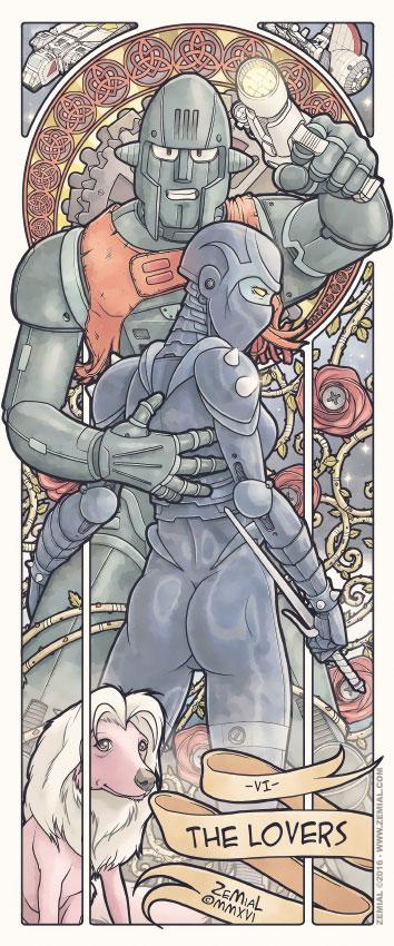 Illustration THE LOVERS représentant Cragg (Capitaine Flam) et Armanoïd (Cobra)