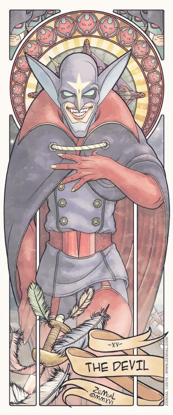 Illustration THE DEVIL représentant Zoltar (La Bataille des Planètes)