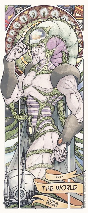 Illustration THE WORLD représentant Diskor (Jayce et les conquérants de la lumière)