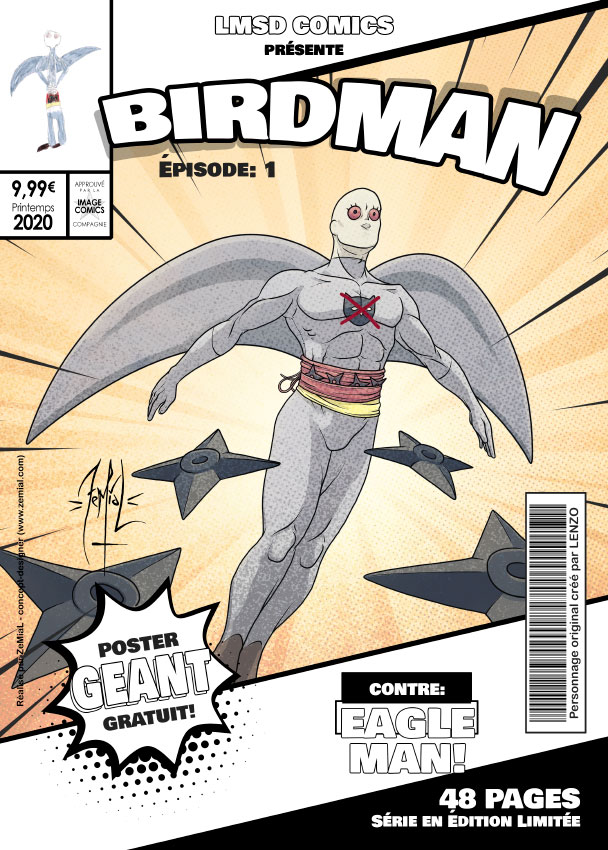 Illustration façon comics du personnage original Birdman