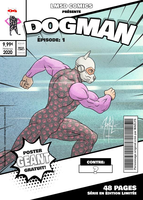 Illustration façon comics du personnage original Dogman