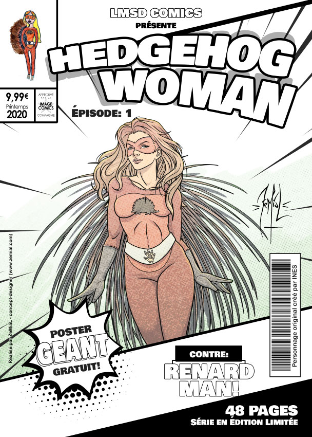 Illustration façon comics du personnage original Hedgehog Woman