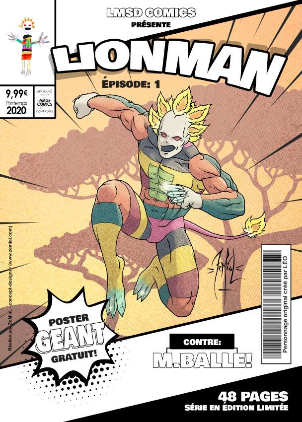 Illustration façon comics du personnage original Lionman