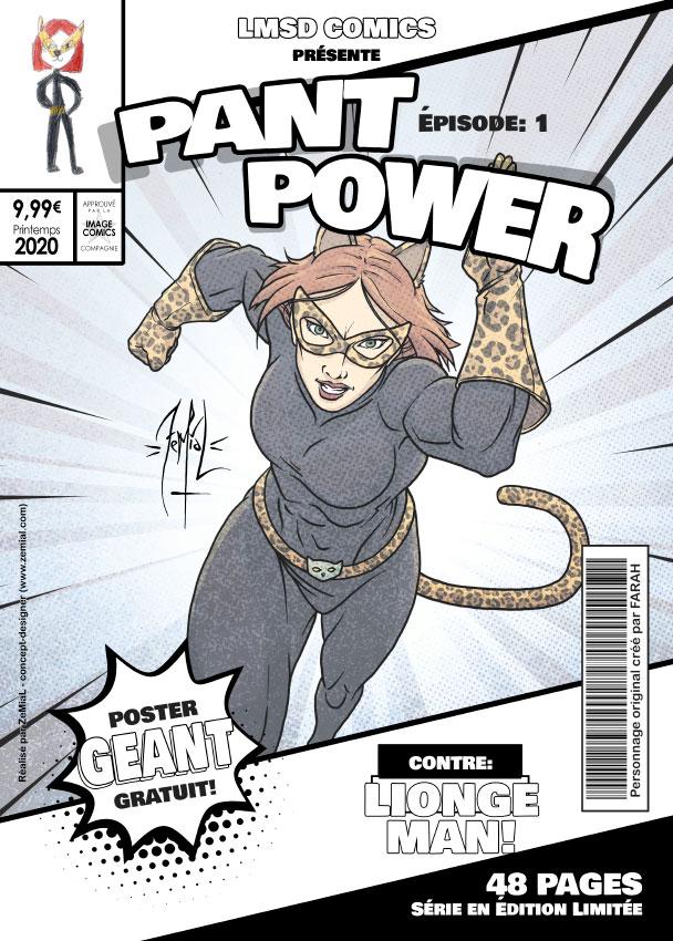 Illustration façon comics du personnage original PantPower